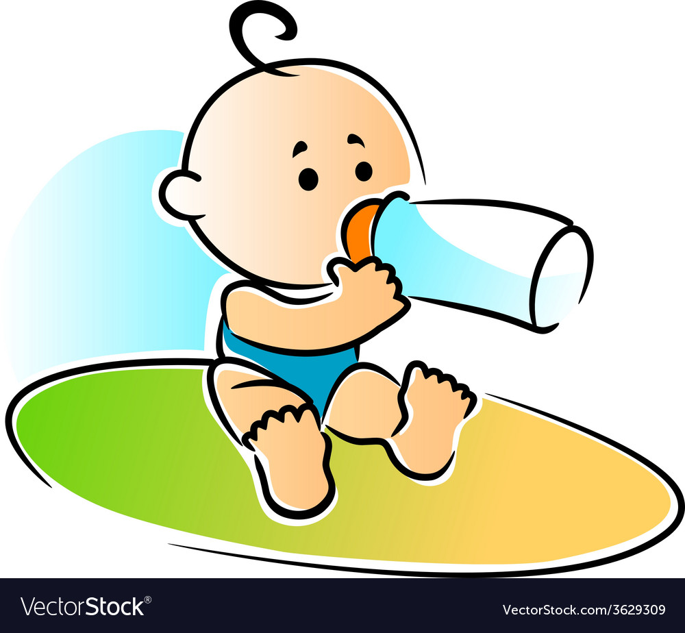 Adorable newborn baby drinking a bottle of feed vector | Price: 1 Credit (USD $1)