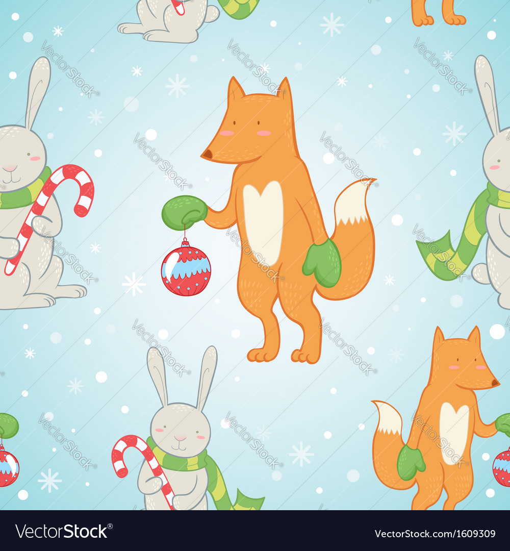 Christmas seamless pattern with bunny and fox vector | Price: 1 Credit (USD $1)