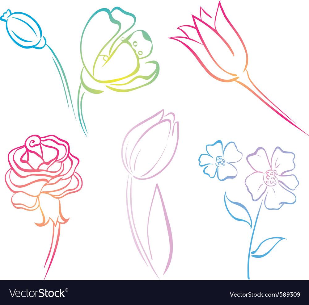 Flower art line vector | Price: 1 Credit (USD $1)