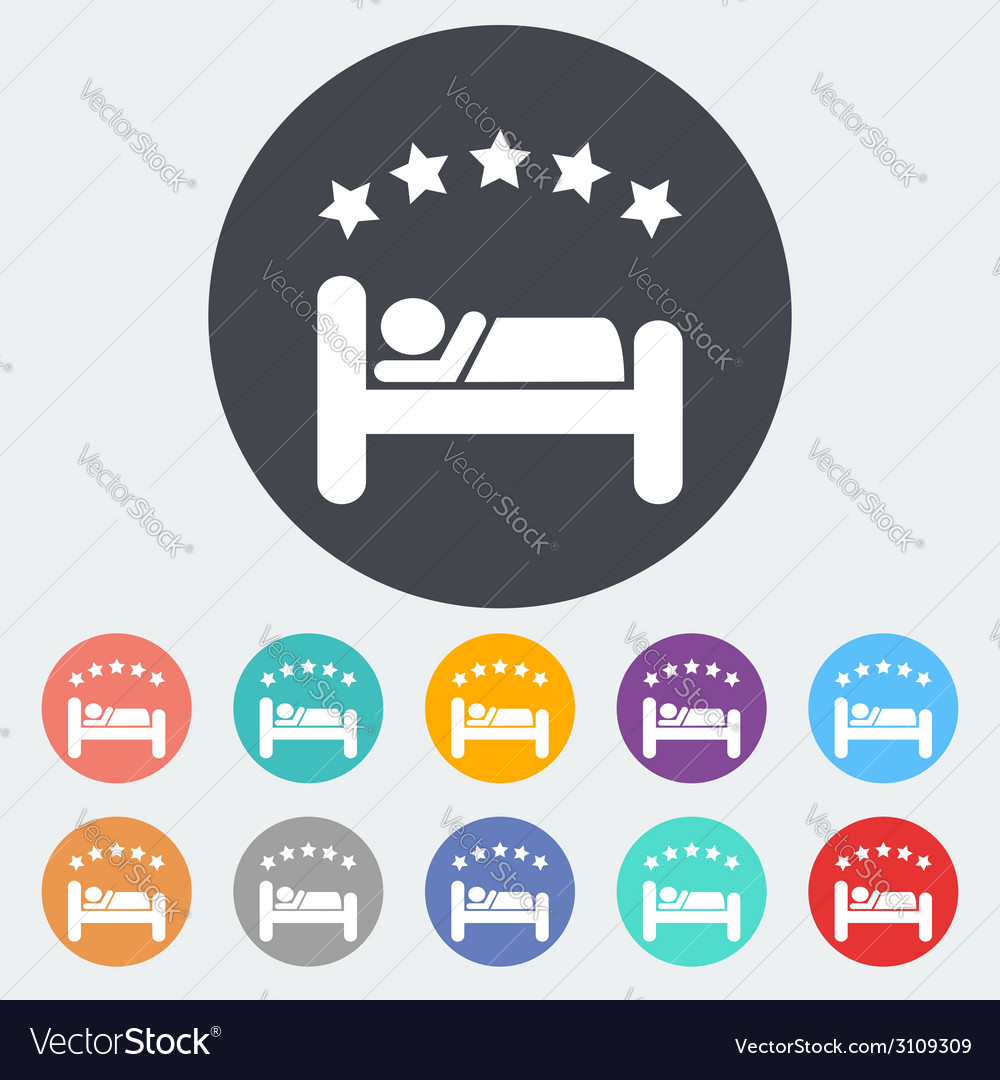 Hotel single flat icon vector | Price: 1 Credit (USD $1)