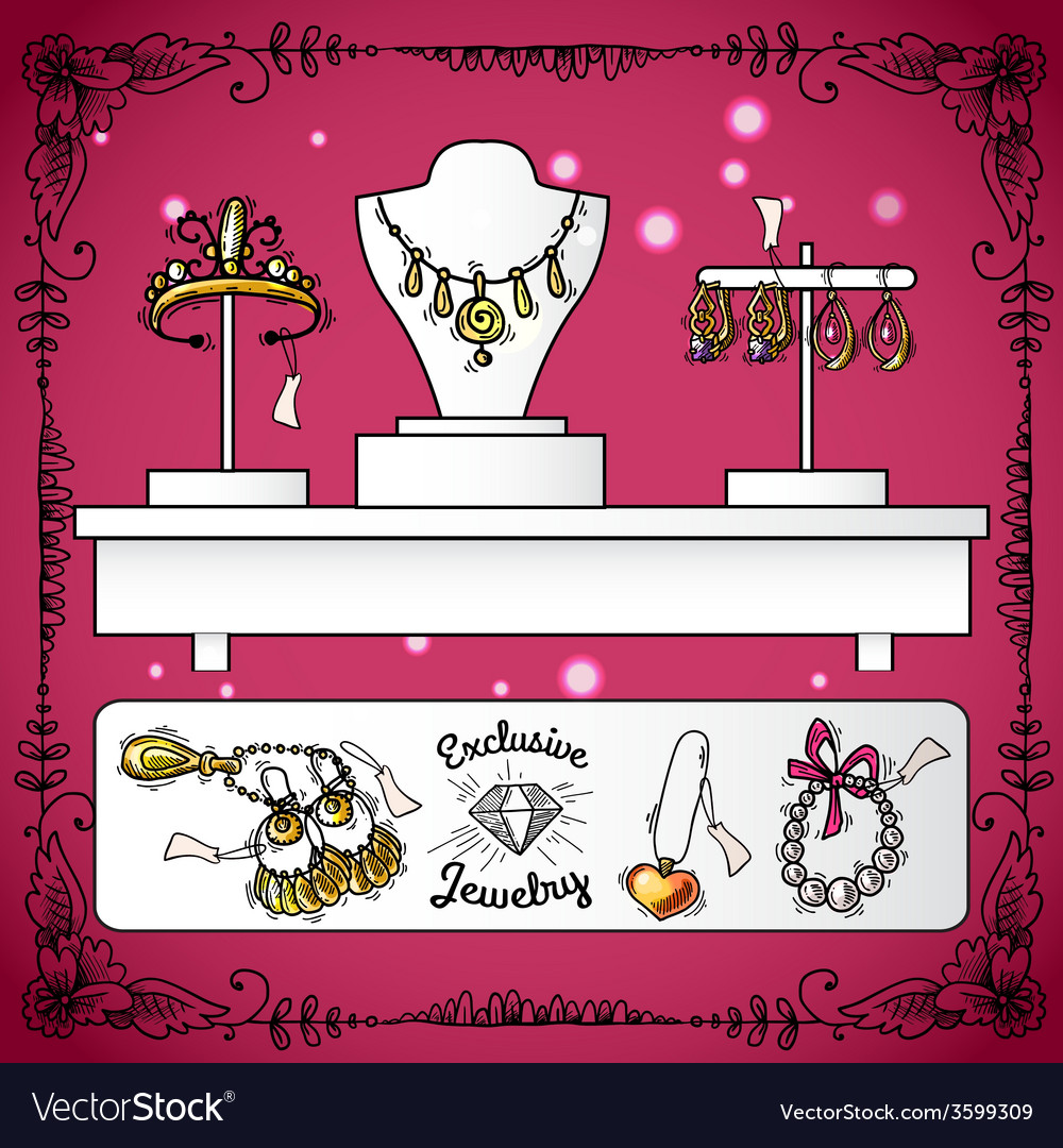 Jewelry shop display vector | Price: 1 Credit (USD $1)