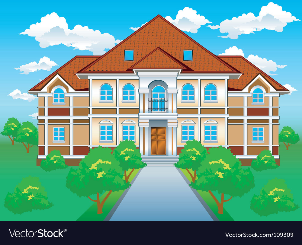 Private residence on hill vector | Price: 1 Credit (USD $1)