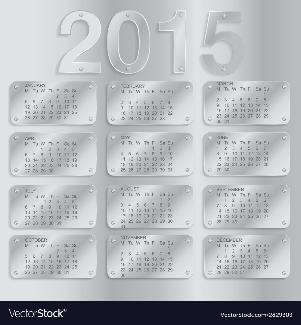 Simple european 2015 year calendar vector   Price: 1 Credit (USD $1)