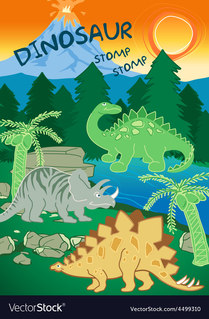 Dinosaurs stomp stomp next to a volcano vector   Price: 1 Credit (USD $1)