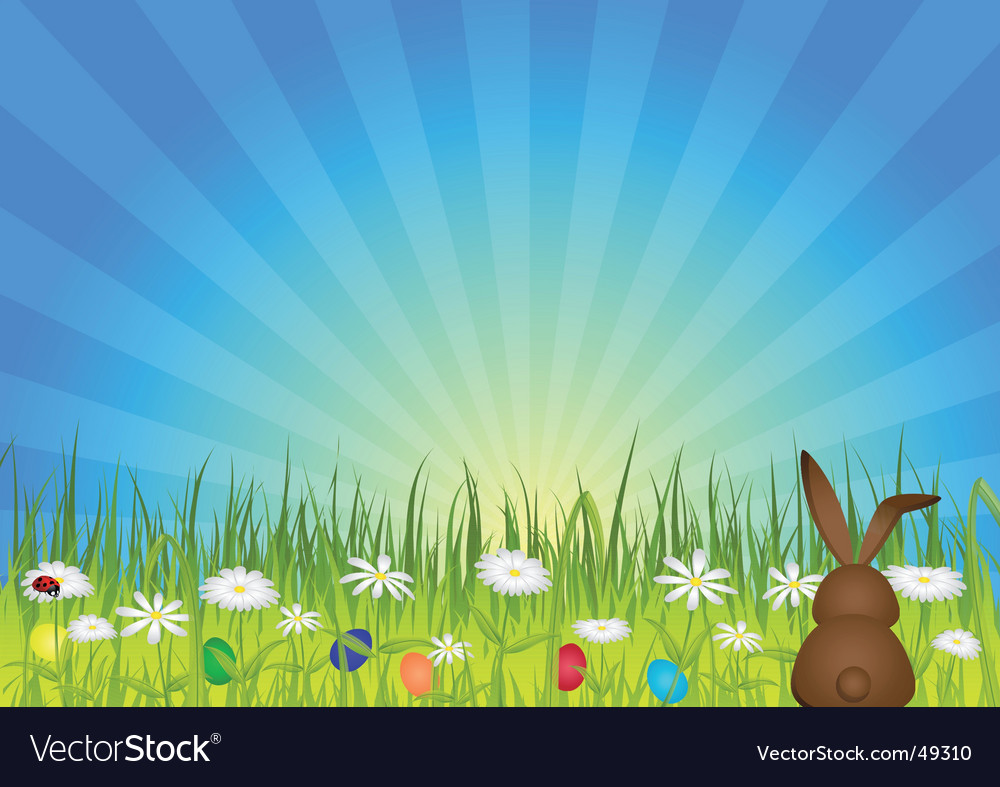 Easter bunny on green meadow vector | Price: 1 Credit (USD $1)