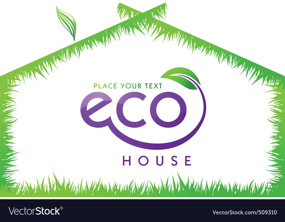 Eco green grass house isolated vector | Price: 1 Credit (USD $1)