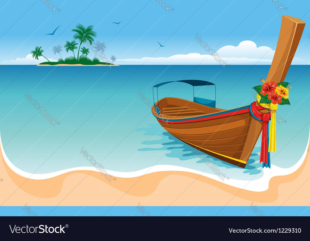 Long tail boat vector | Price: 3 Credit (USD $3)