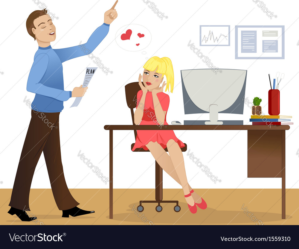 Love story at work vector | Price: 1 Credit (USD $1)