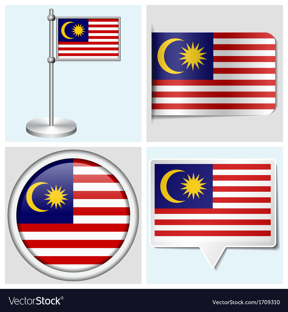 Malaysia flag - sticker button label flagstaff vector | Price: 1 Credit (USD $1)