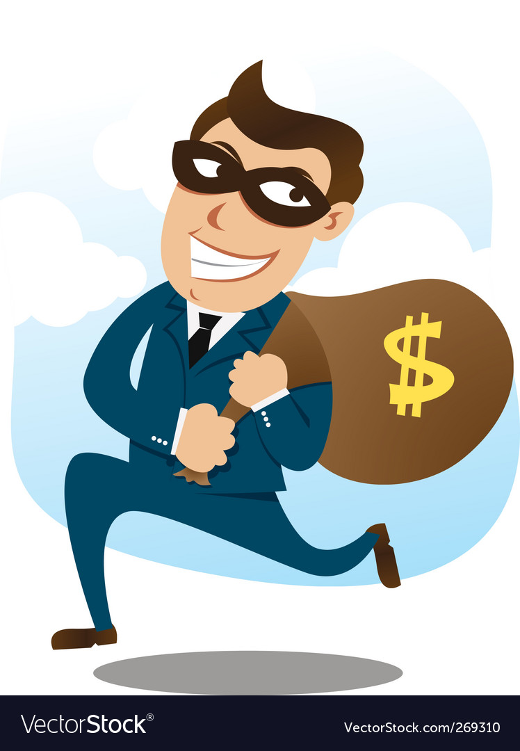 Man wearing suit stealing money vector | Price: 1 Credit (USD $1)