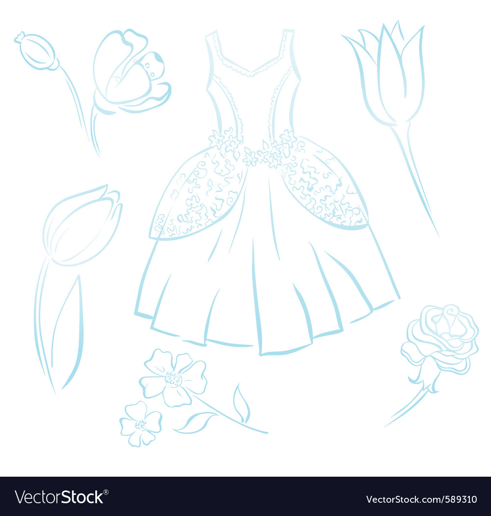 Retro dress outline vector | Price: 1 Credit (USD $1)