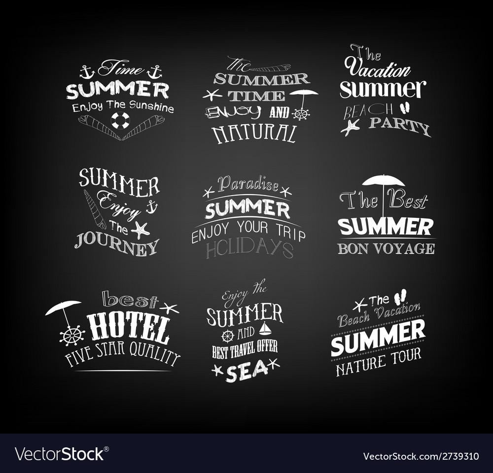 Set of vintage retro summer labels vector | Price: 1 Credit (USD $1)