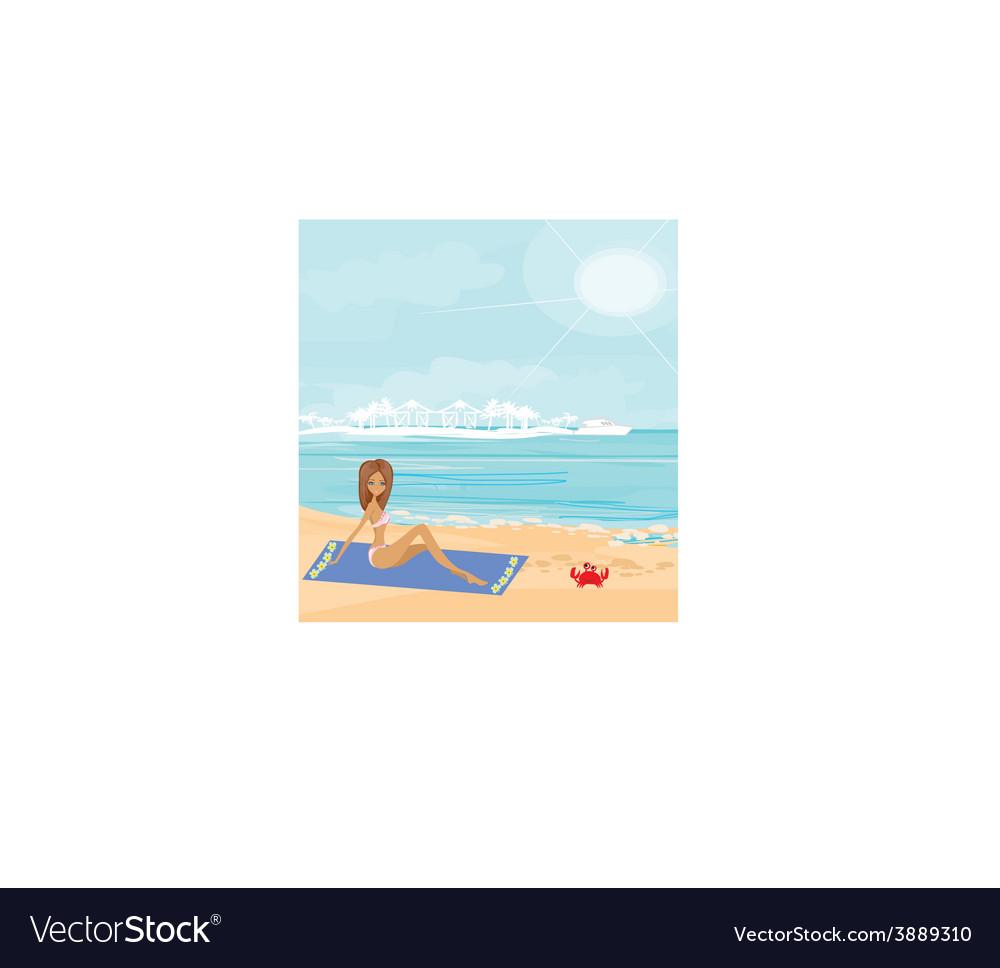 Sexy beach girl near sea water vector | Price: 1 Credit (USD $1)