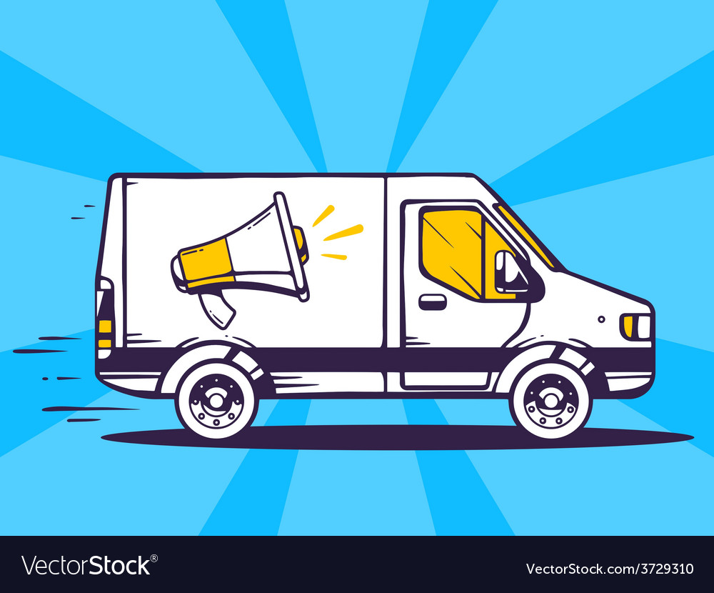 Van free and fast delivering megaphone to vector | Price: 1 Credit (USD $1)