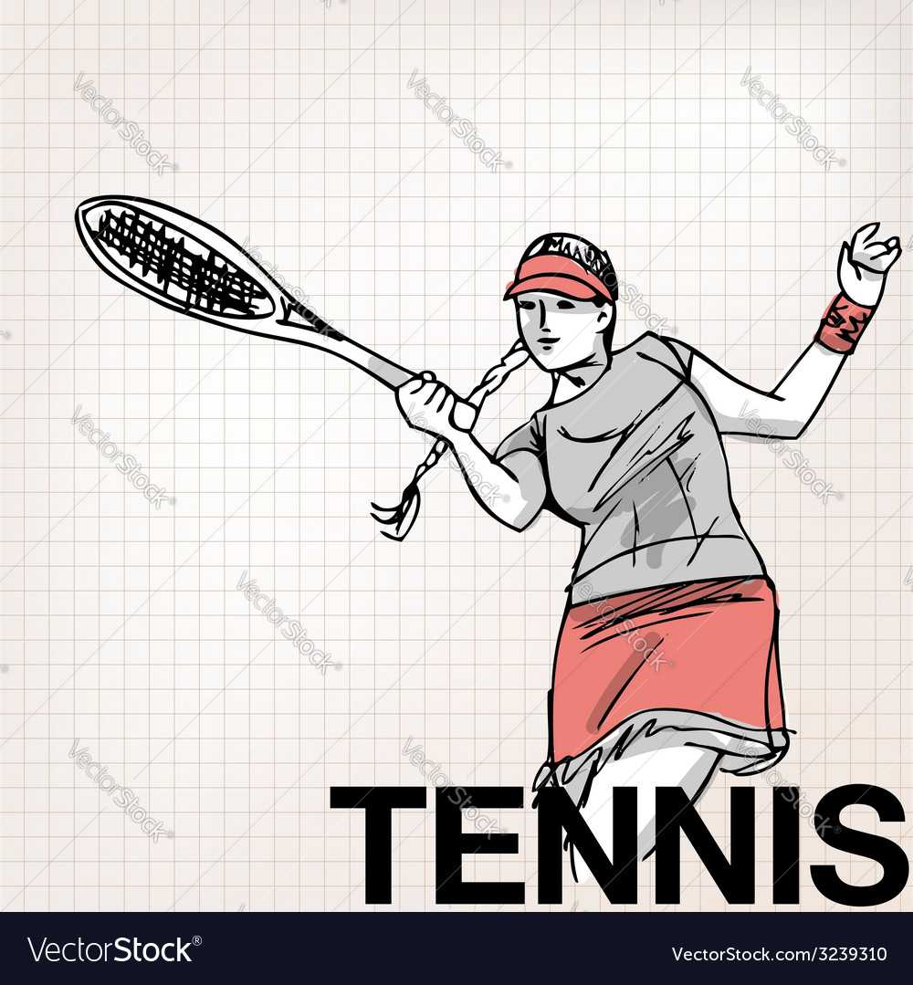 Woman playing tennis vector | Price: 1 Credit (USD $1)