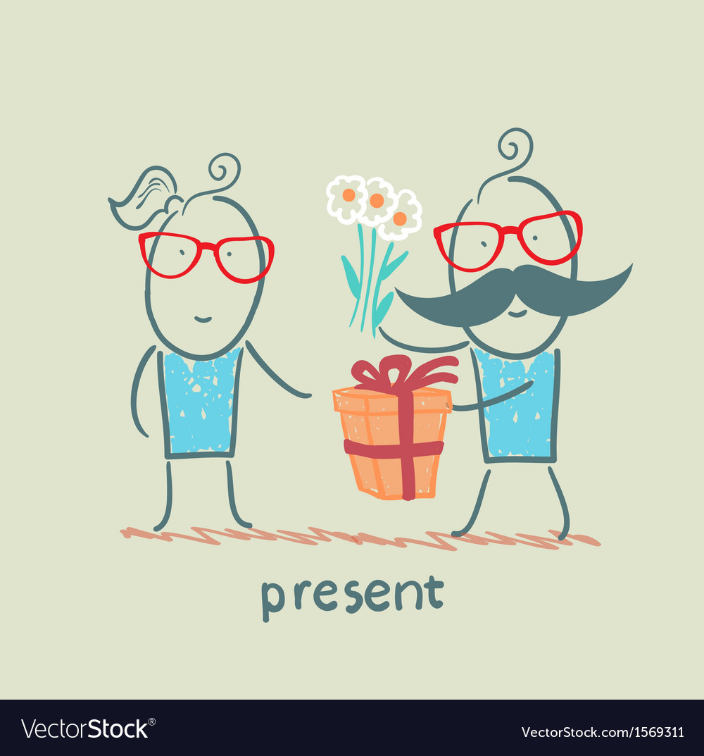 A person gives a gift of flowers girl vector | Price: 1 Credit (USD $1)