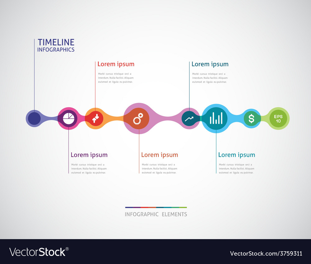 Horizontal timeline infographics from a link of vector | Price: 1 Credit (USD $1)