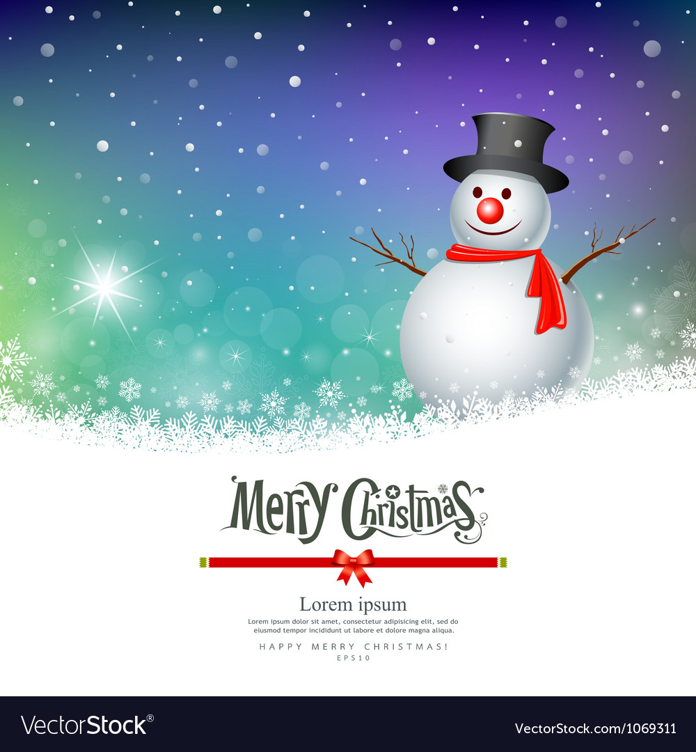 Merry christmas snowman greeting card designs vector | Price: 1 Credit (USD $1)