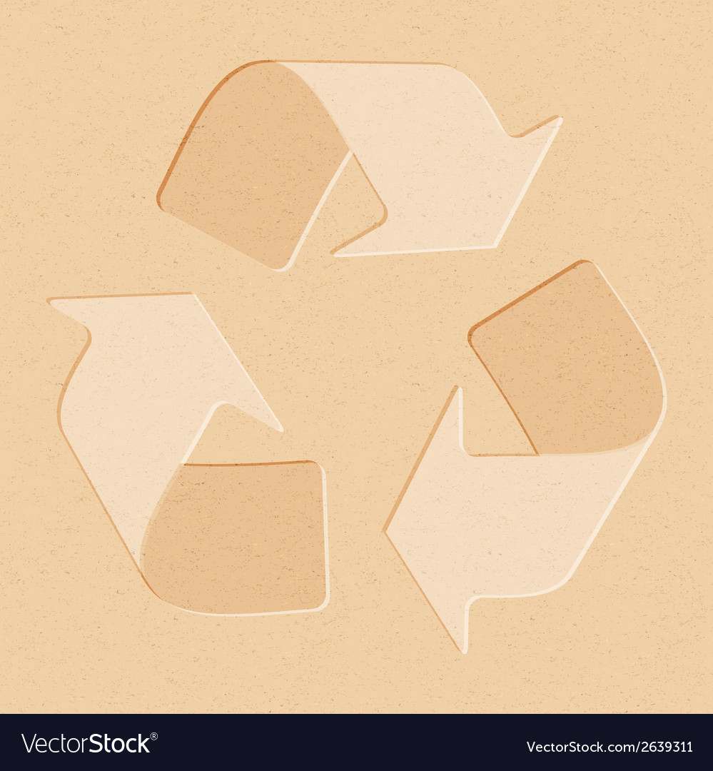 Realistic recycled paper with recycling symbol vector | Price: 1 Credit (USD $1)