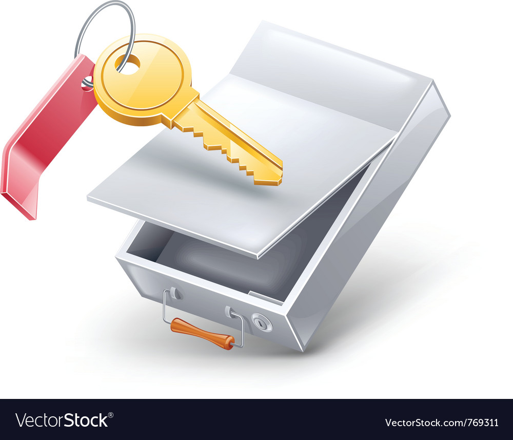 Safety deposit box with key vector | Price: 3 Credit (USD $3)