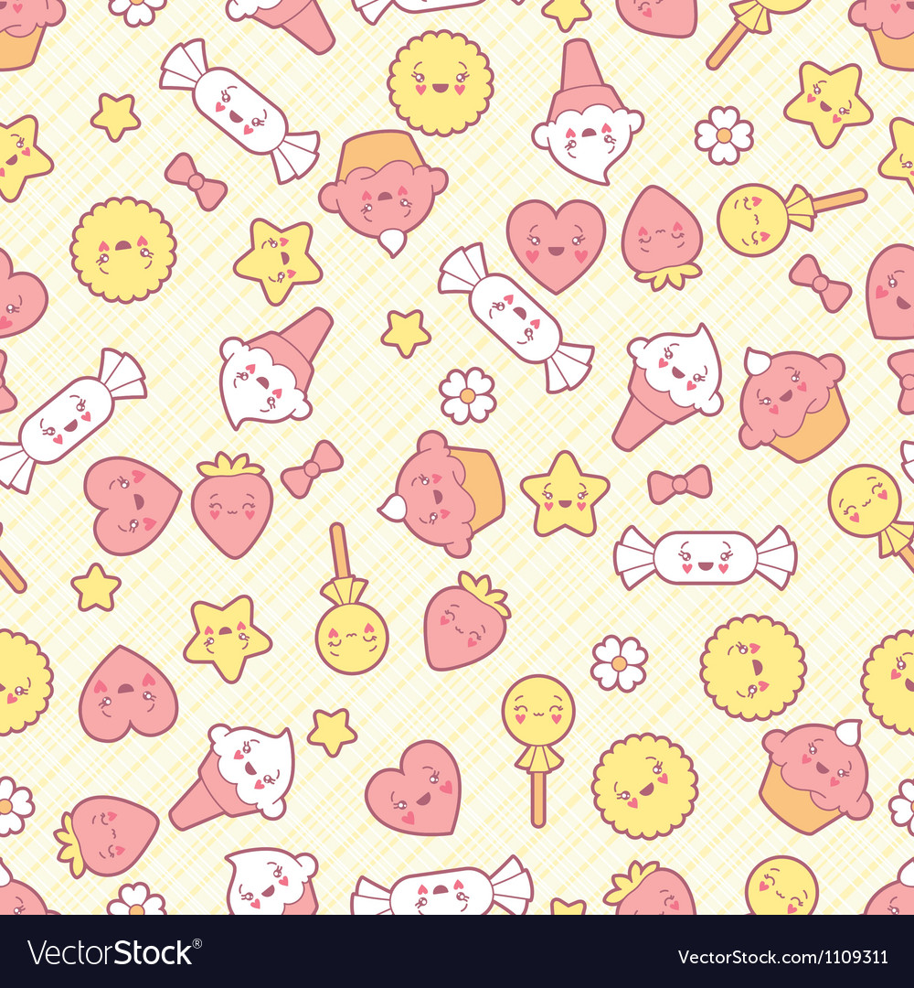 Seamless kawaii pattern with cute cakes vector | Price: 1 Credit (USD $1)