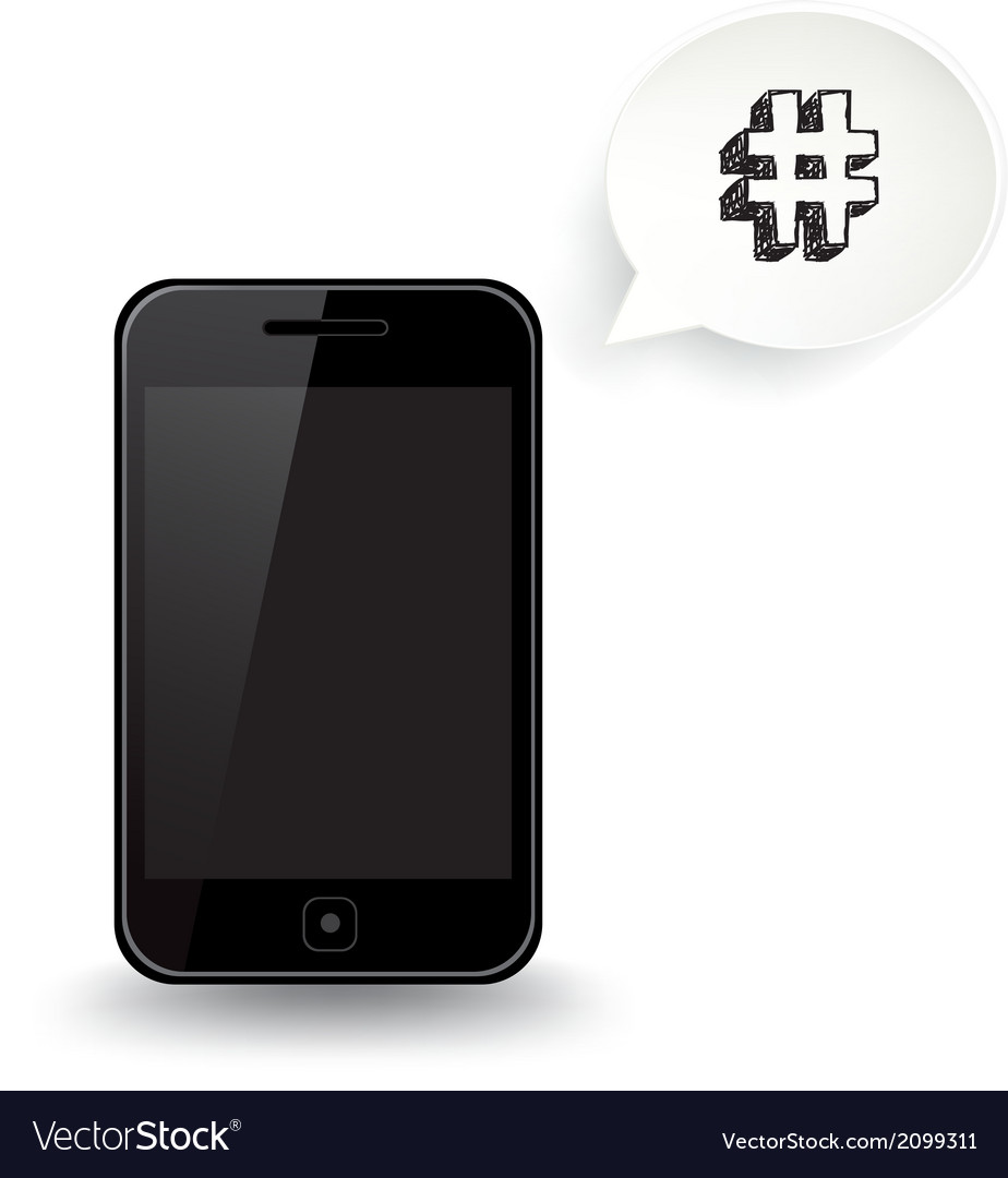 Smart phone hashtag vector | Price: 1 Credit (USD $1)