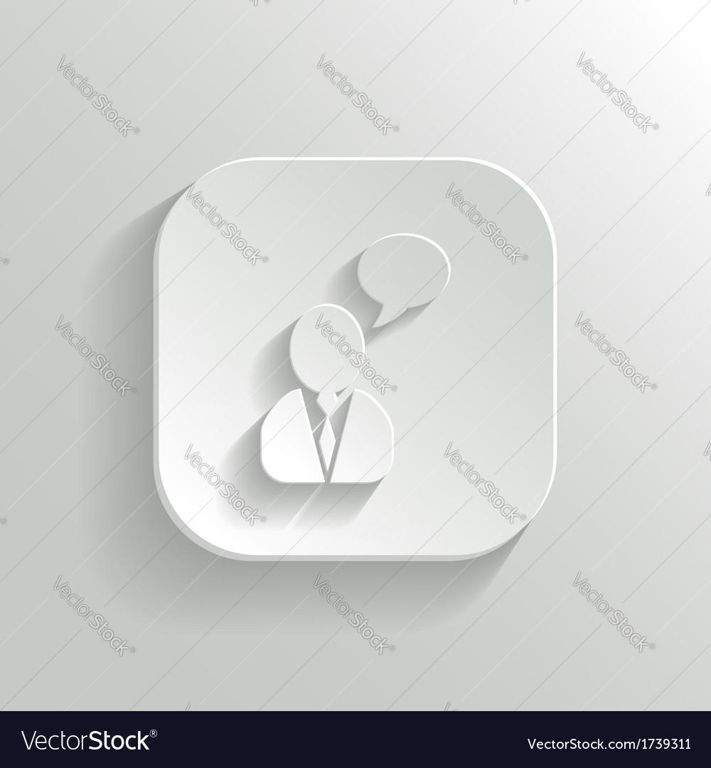 Speech icon - white app button vector   Price: 1 Credit (USD $1)