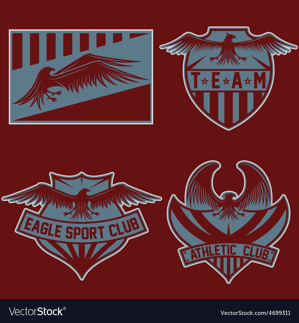 Sport team crests set with eagles design template vector | Price: 1 Credit (USD $1)