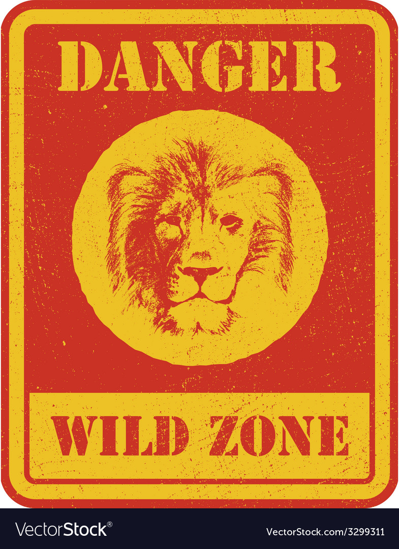 Warning sign danger signal with lion vector | Price: 3 Credit (USD $3)