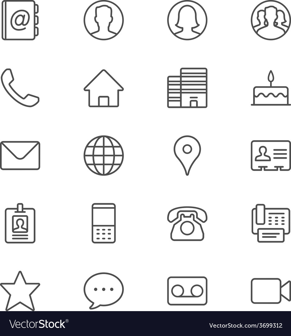 Contact thin icons vector | Price: 1 Credit (USD $1)