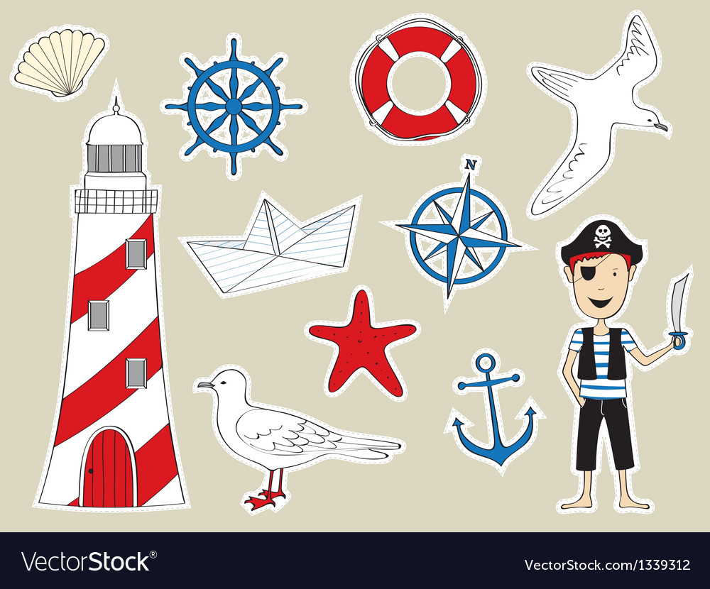 Funny nautical set vector | Price: 3 Credit (USD $3)