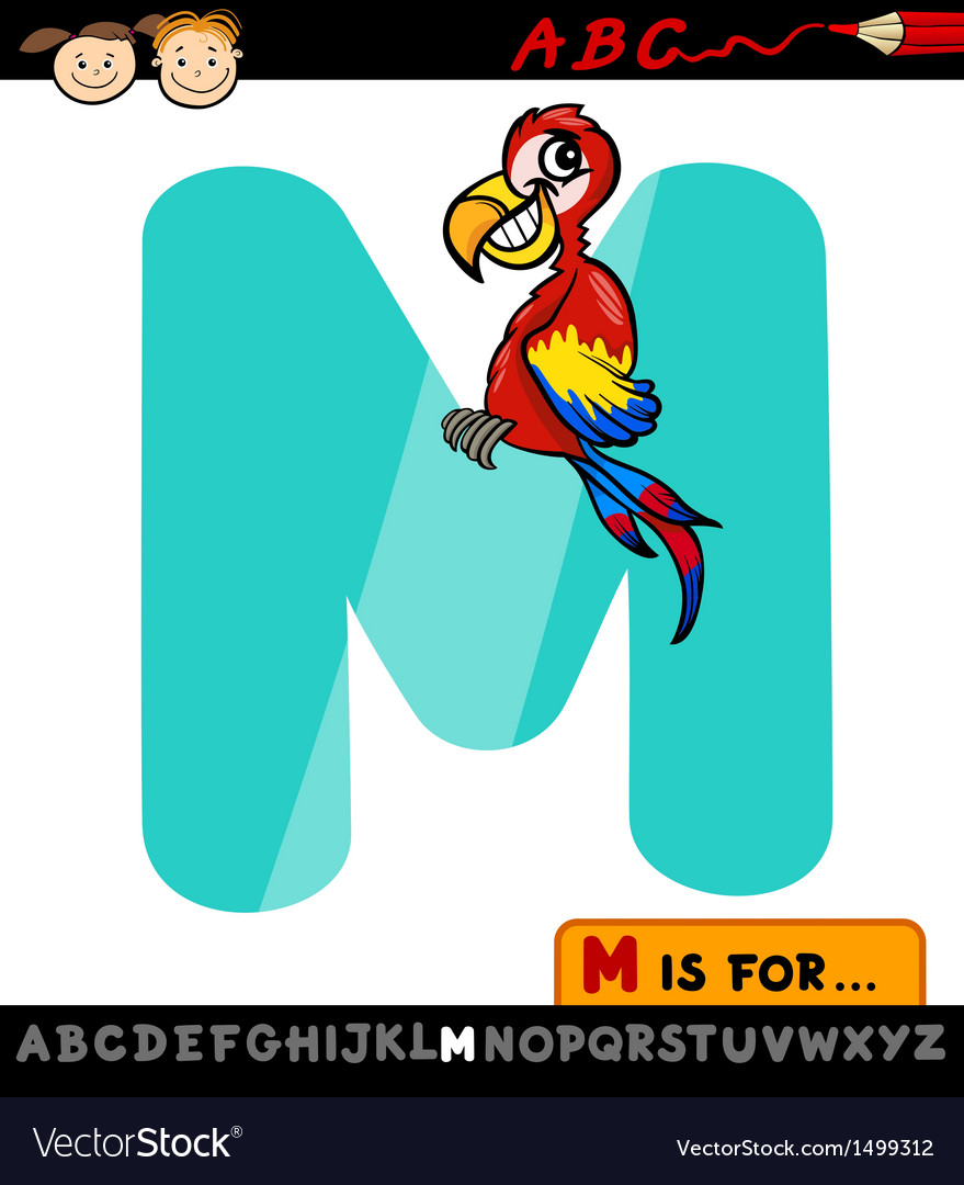 Letter m with macaw cartoon vector | Price: 1 Credit (USD $1)