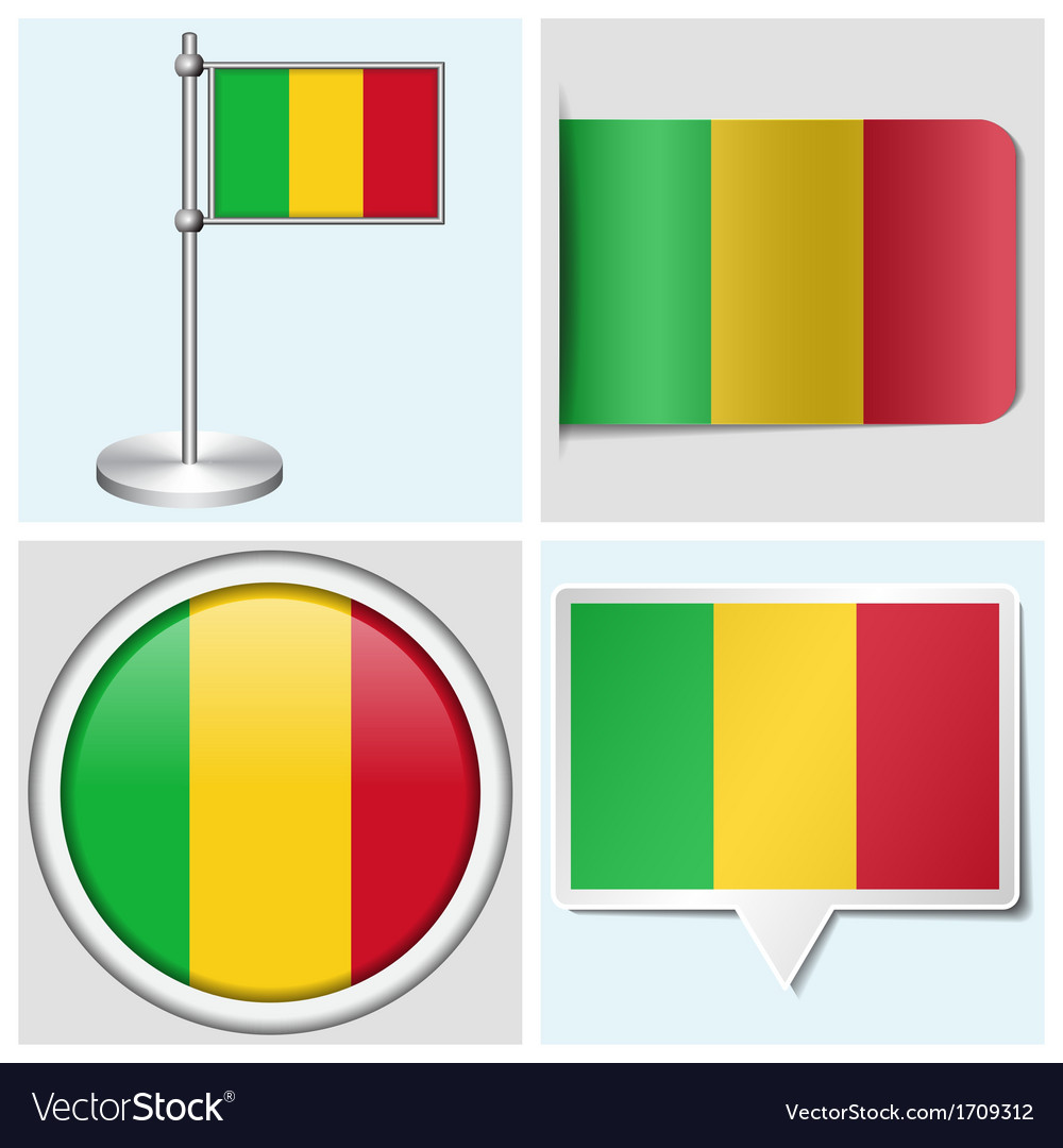 Mali flag - sticker button label flagstaff vector | Price: 1 Credit (USD $1)