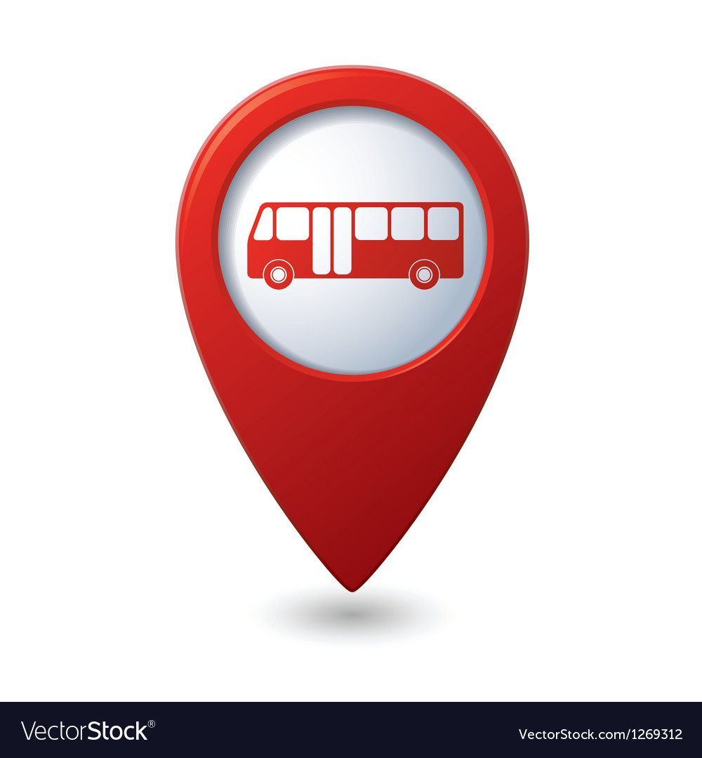 Map pointer with bus icon vector | Price: 1 Credit (USD $1)
