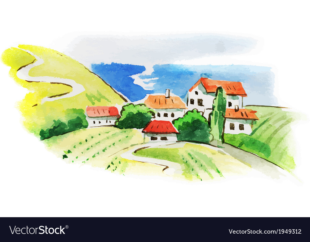 Painted watercolor vineyard landscape vector | Price: 1 Credit (USD $1)
