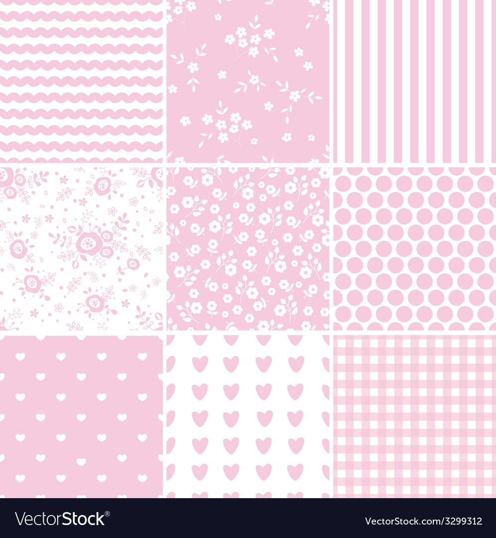 Set of abstract pink seamless patterns vector | Price: 1 Credit (USD $1)