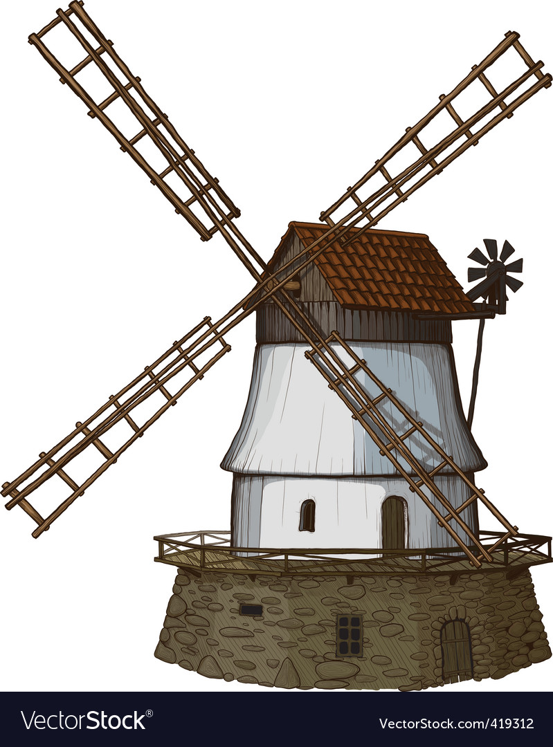 Woodcut windmill vector | Price: 3 Credit (USD $3)