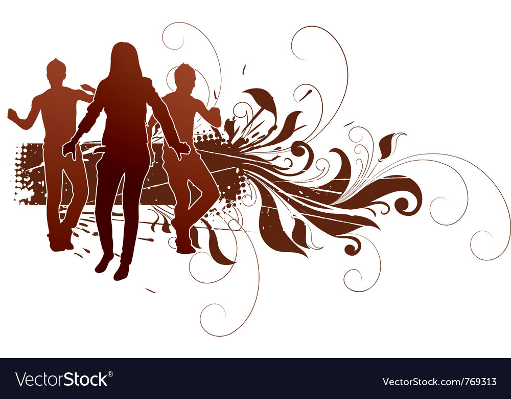 Active people in grunge design vector | Price: 1 Credit (USD $1)