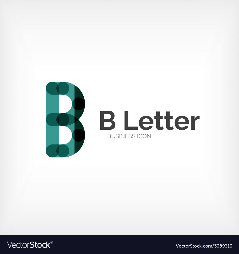 B letter logo minimal line design vector | Price: 1 Credit (USD $1)
