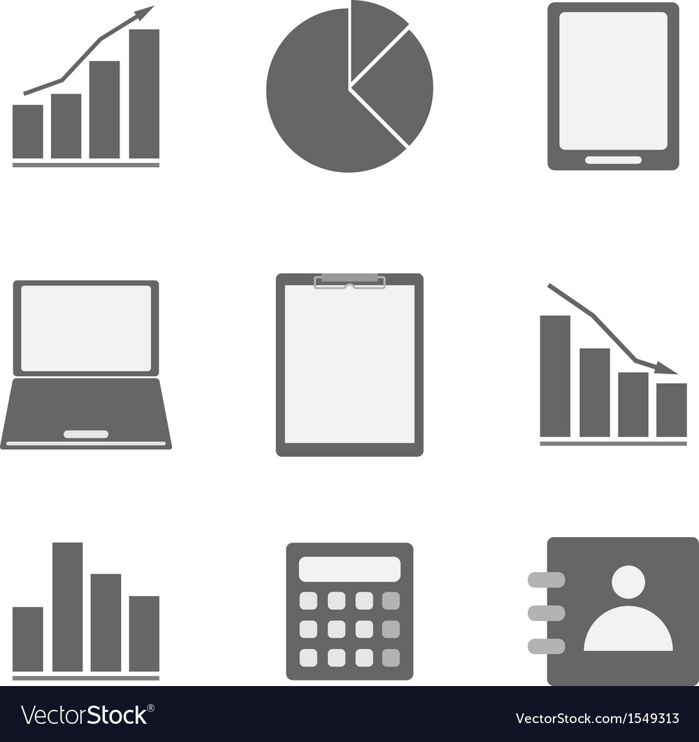 Business icon set on white background vector | Price: 1 Credit (USD $1)