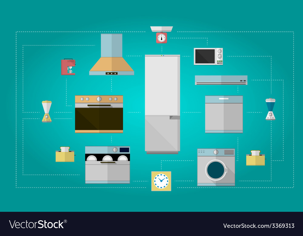 Colored flat icons for kitchen appliances vector | Price: 1 Credit (USD $1)