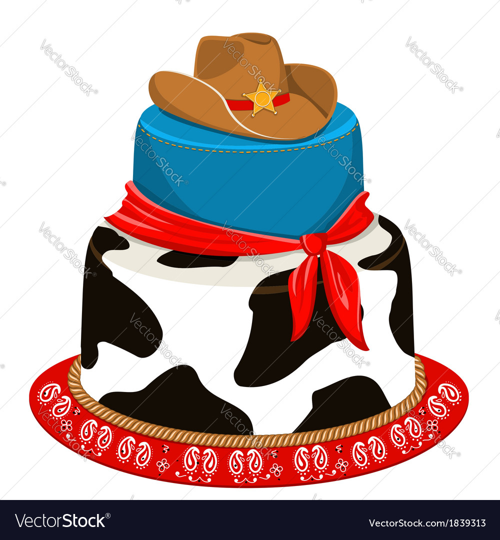 Cowboy party birthday cake vector | Price: 1 Credit (USD $1)