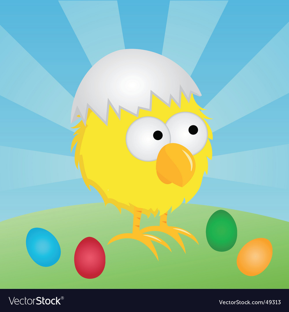 Easter chick with eggshell vector | Price: 1 Credit (USD $1)