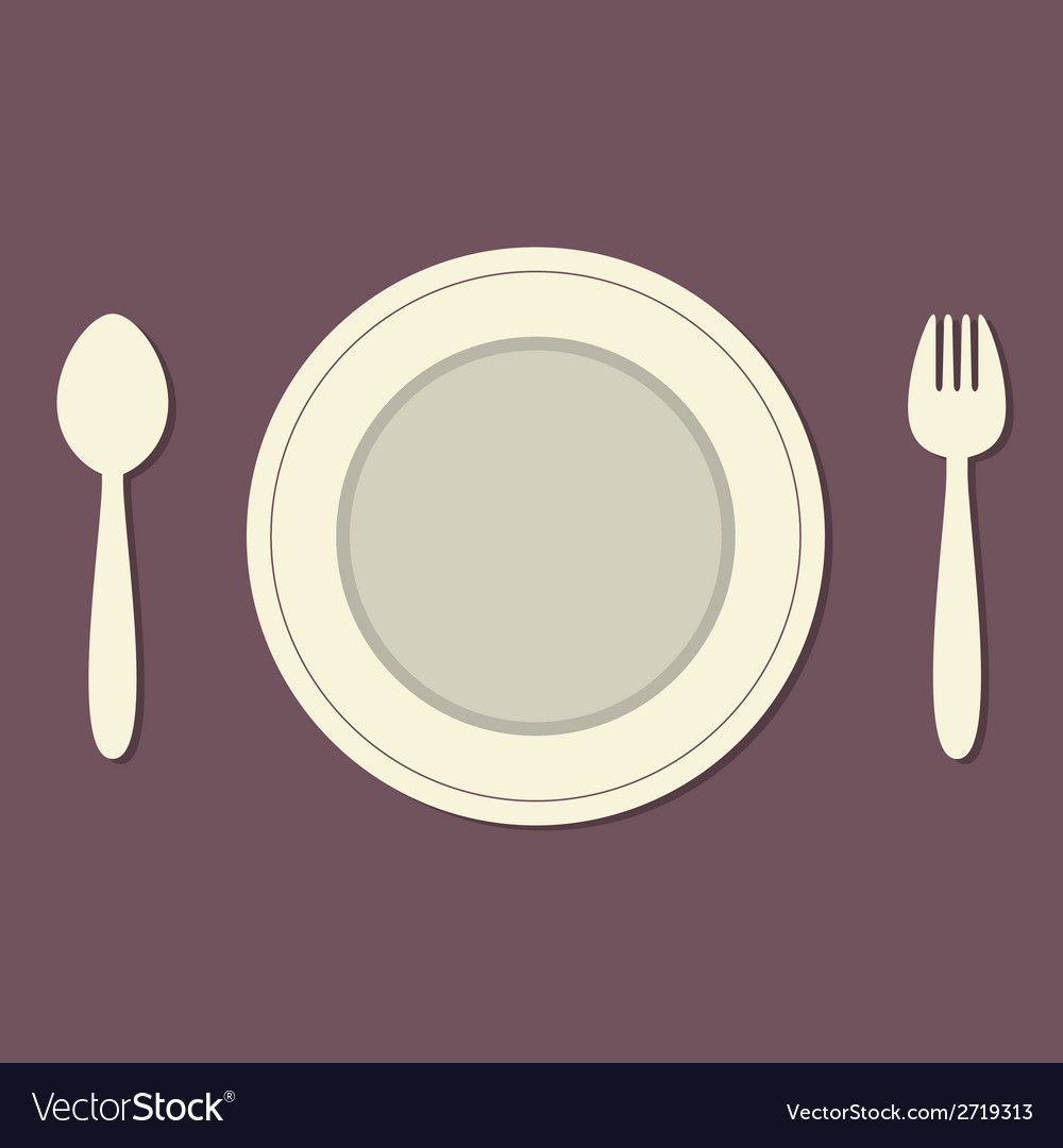 Empty plate with spoon and fork vintage style vector | Price: 1 Credit (USD $1)