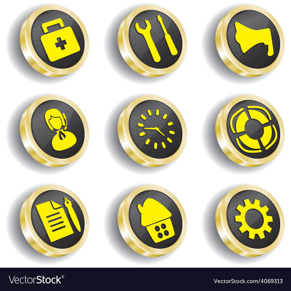 Golden web icon set vector | Price: 1 Credit (USD $1)