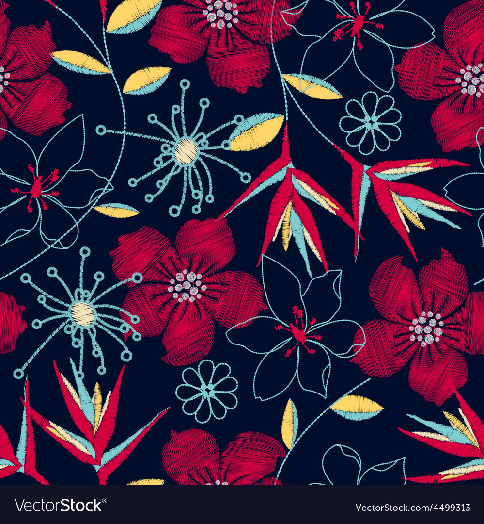 Hibiscus tropical woven embroidery seamless vector | Price: 1 Credit (USD $1)