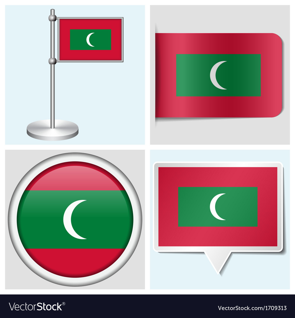 Maldives flag - sticker button label flagstaff vector | Price: 1 Credit (USD $1)
