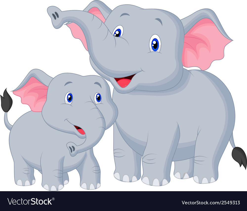 Mother and baby elephant cartoon vector | Price: 1 Credit (USD $1)