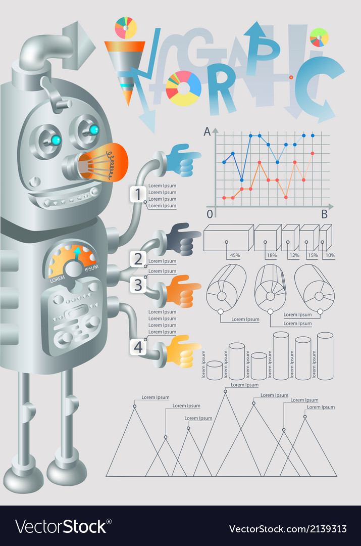 Robot infographic design eps10 vector | Price: 1 Credit (USD $1)