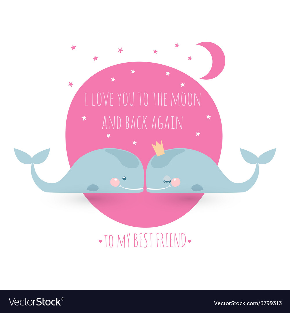 Romatic greeting card with whales card about vector | Price: 1 Credit (USD $1)